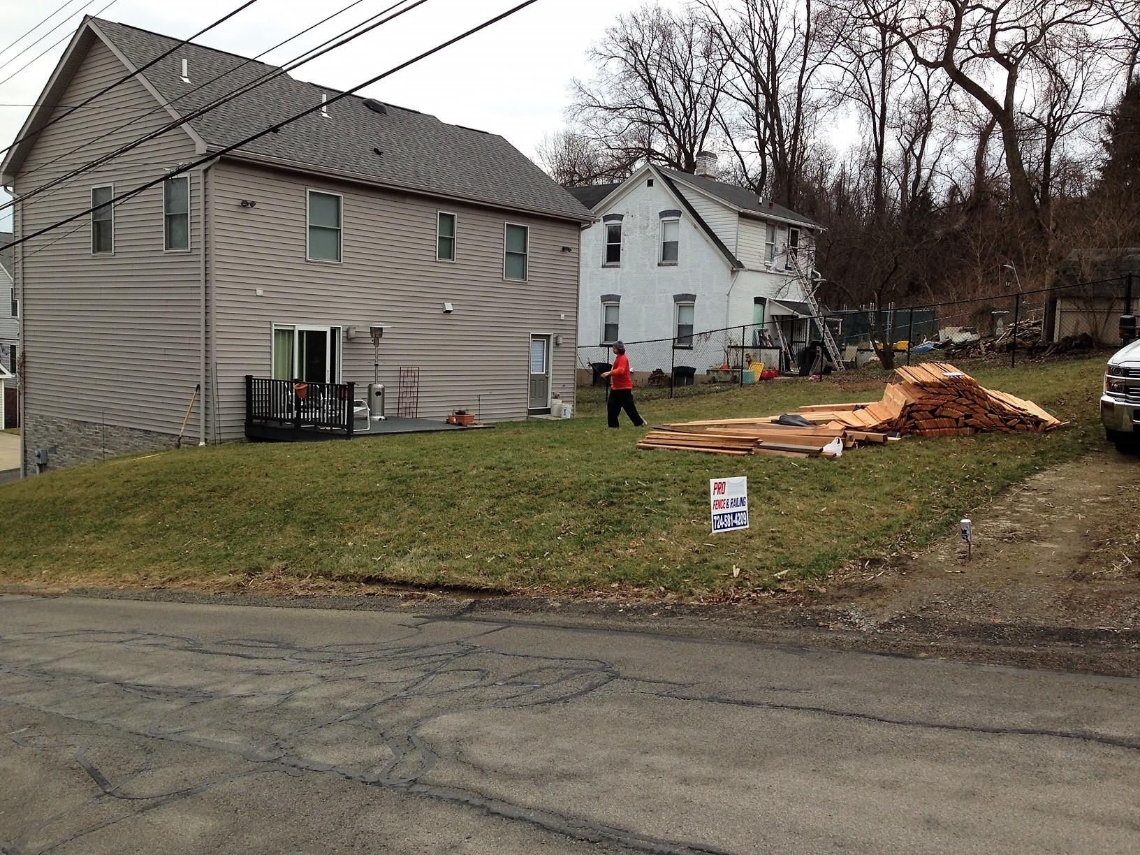 6 Foot Cedar Fence Installation in Pittsburgh, Pa - Before Photo
