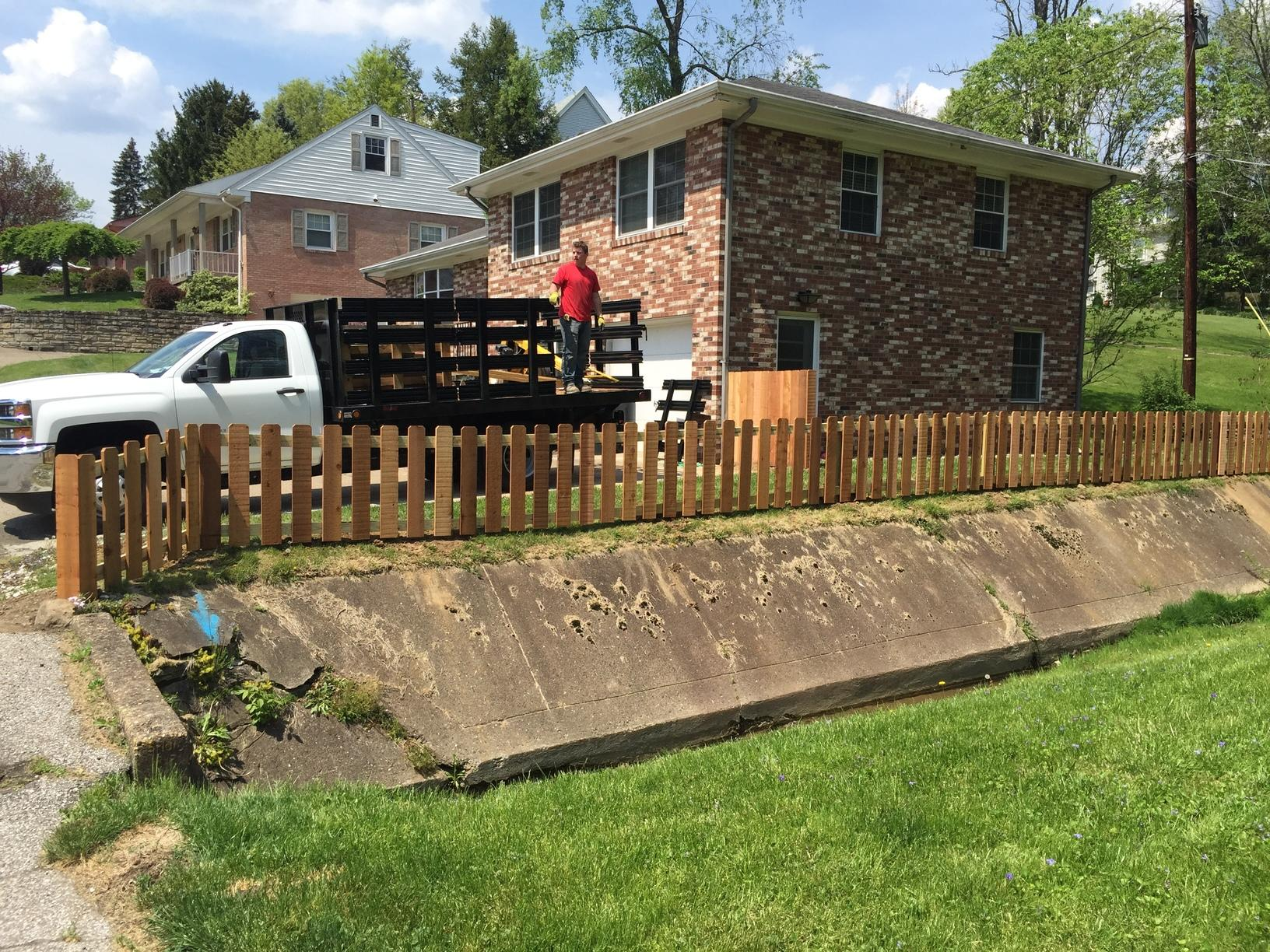 3' Cedar Picket Fence Installation in Wheeling, WV - After Photo