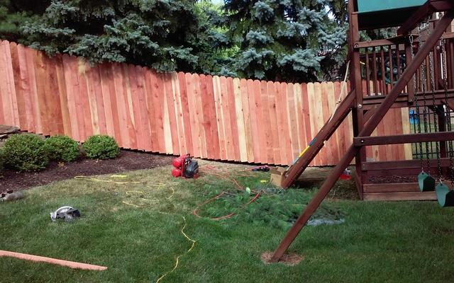 6'  Privacy Redwood Picket Fence Replacement in Sewickley, PA