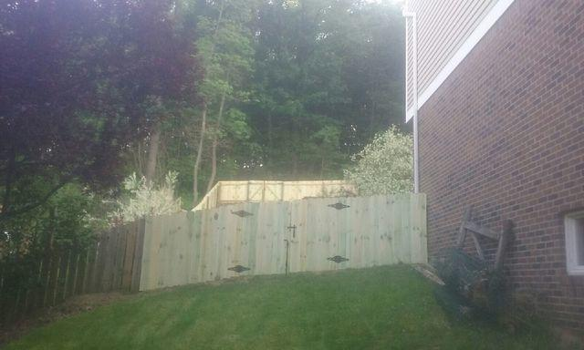 4' Treated Wood Privacy Fence Installation in Monroeville, PA