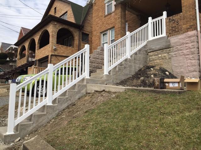 White Vinyl Handrail Installation in Carnegie, PA
