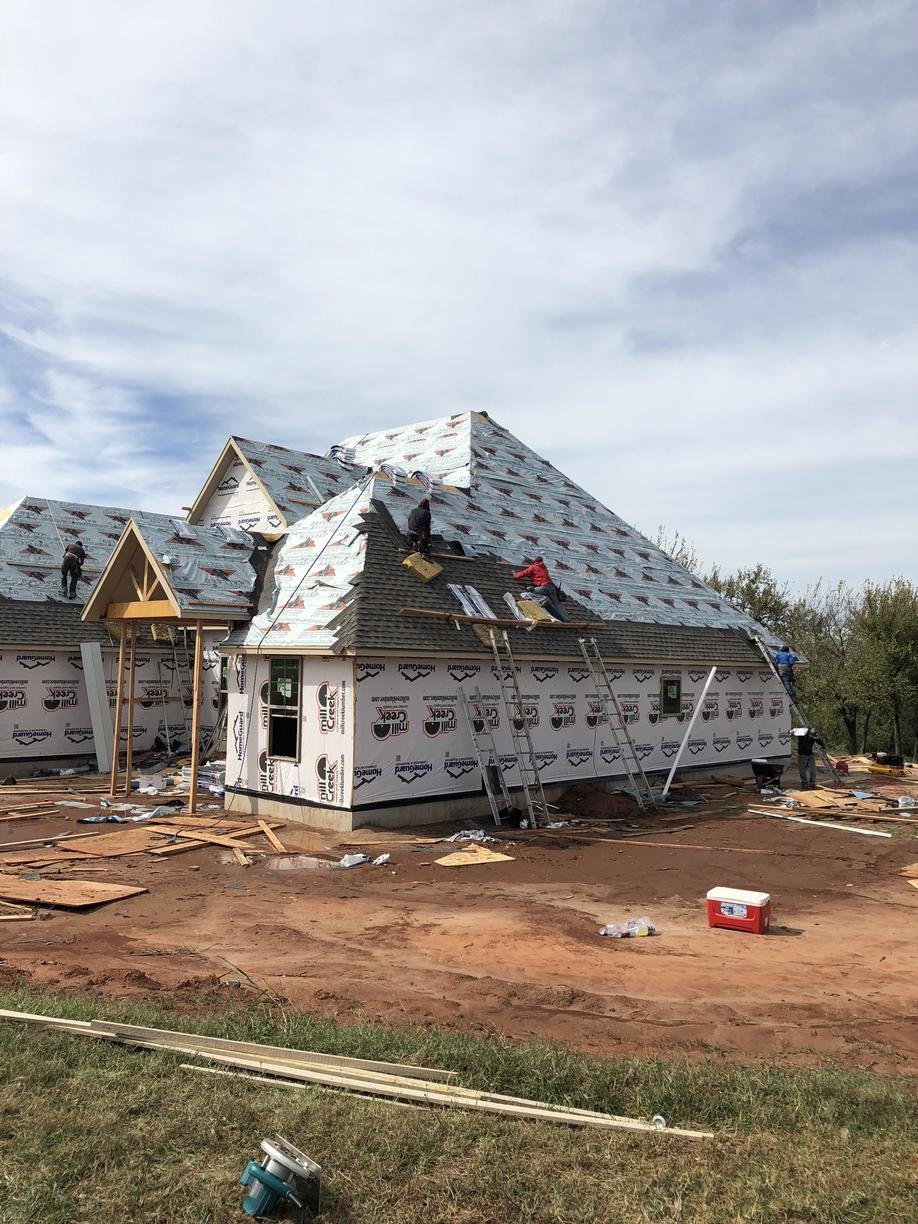 New Home Construction gets New Roof in Goldsby - Before Photo