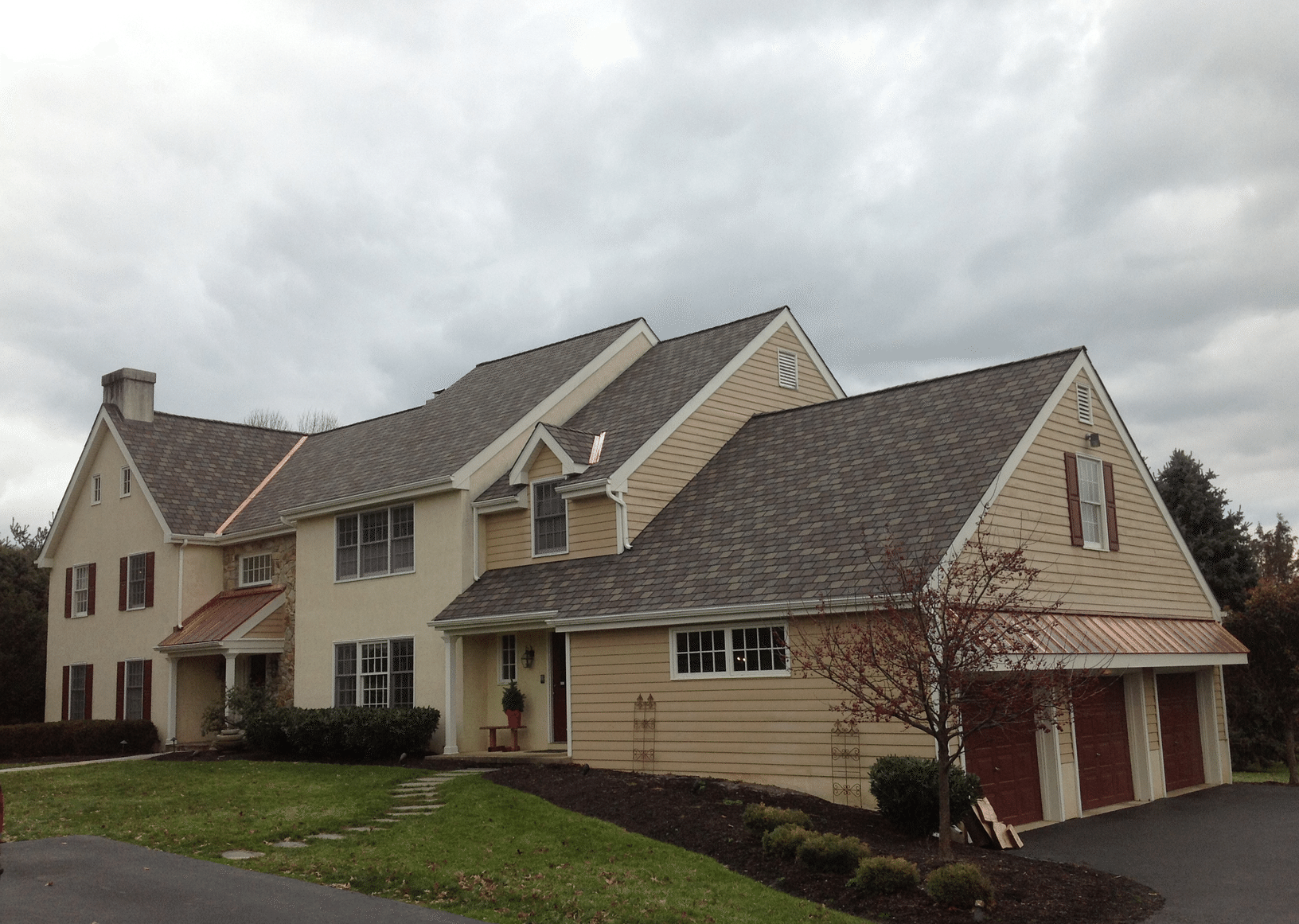 Certainteed Highland Slate Roof Replacement with Copper Accents in Malvern, PA - After Photo