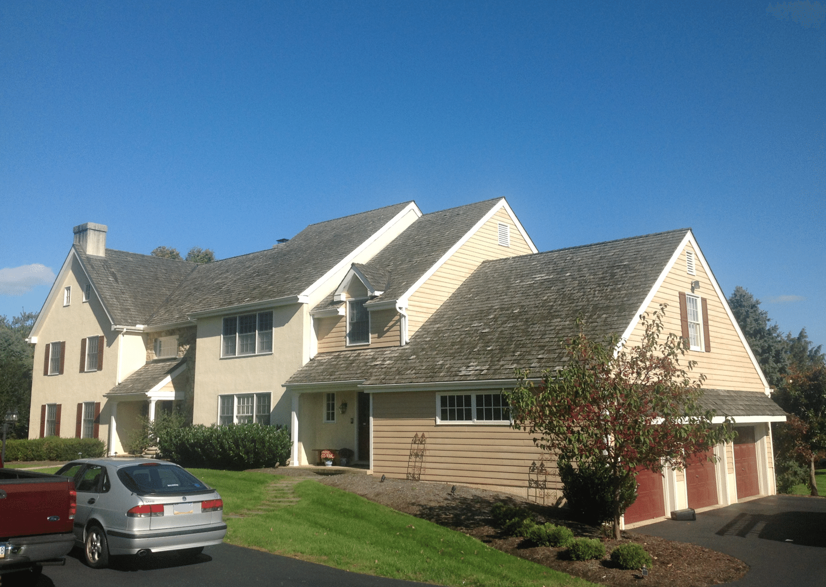 Certainteed Highland Slate Roof Replacement with Copper Accents in Malvern, PA - Before Photo