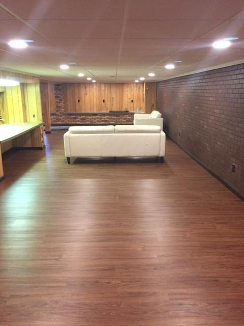 New Floor, Ceiling and Windows for this 70's Style Man Cave - After Photo