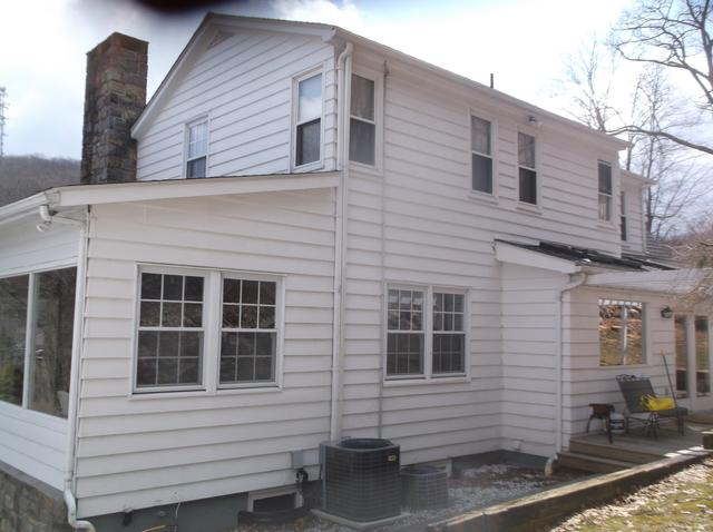 Cedarboards Siding with Black Trim Installed in Mahopac - Before Photo