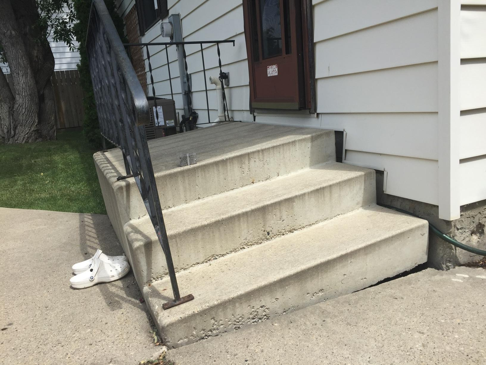 Precast Steps Sunk and Pulled Away from Home in Edmonton, AB - Before Photo