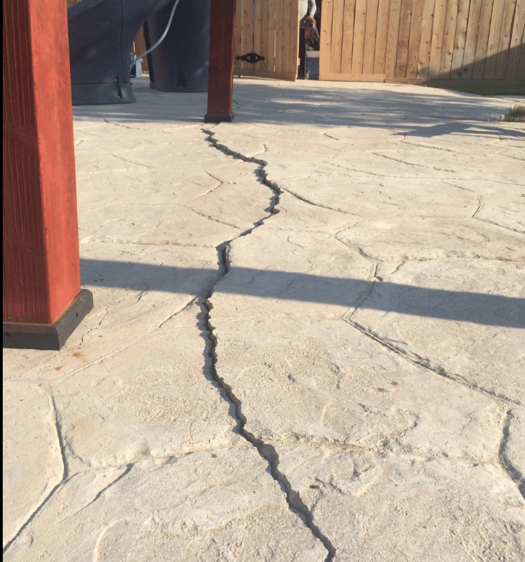 Repairing a Cracked Patio and Pool Deck in Amarillo, TX - Before Photo