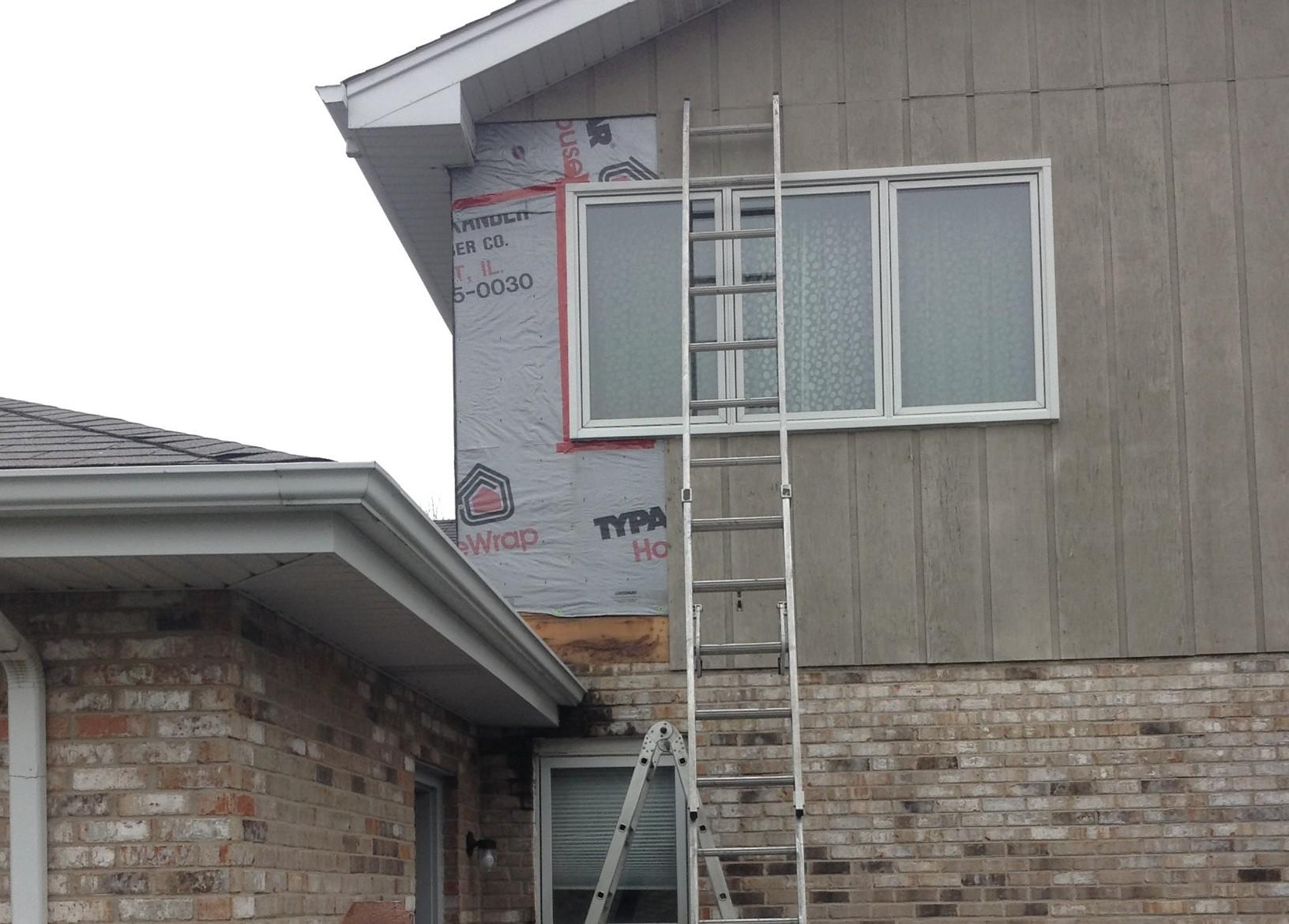 New Gutters and Downspouts in Homer Glen - Before Photo