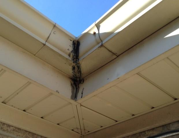 Corner Gutter Repair in Orland Park, IL - Before Photo