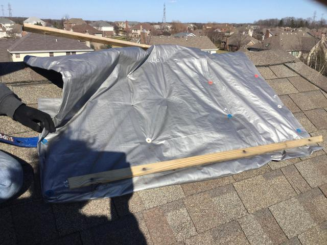 Frankfort, IL - Rooftop tarp removal and repair - Before Photo