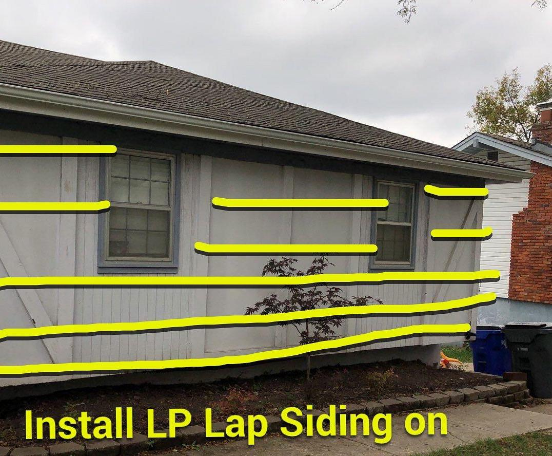 Lap Siding Installed on Home in Olathe, KS - Before Photo
