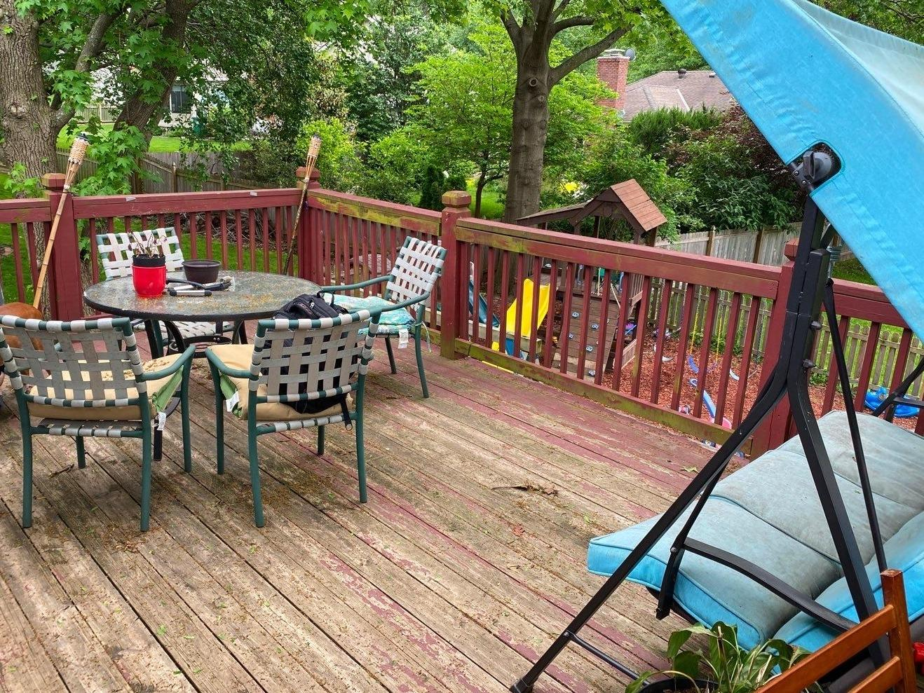Rebuilt Deck with New Piers, Posts and Stairs in Lee's Summit, MO - Before Photo