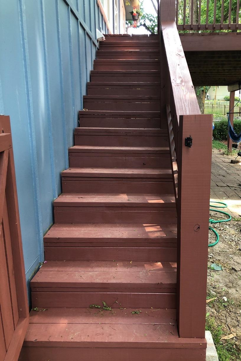 Deck gets new Stairs, Power Wash and Re-Stained in Lee's Summit, MO - After Photo