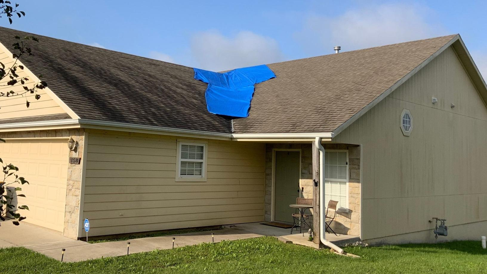 Leaking Roof in Tonganoxie, KS is Repaired by Arrow Renovation - Before Photo