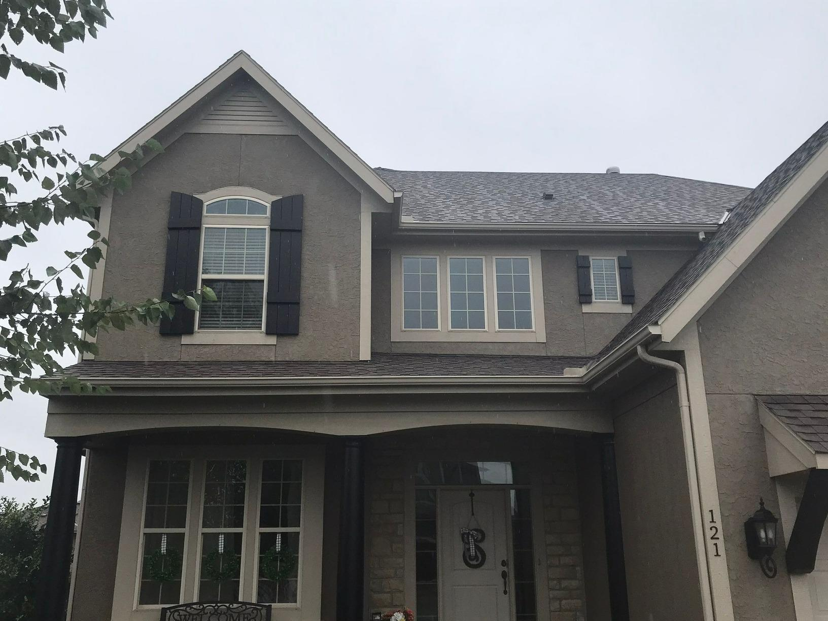 Cedar Shutters and Posts Installed on Lee's Summit, MO Home - Before Photo