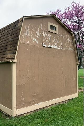 Roof Replacement and Siding on a Shed in Bucyrus, KS - Before Photo
