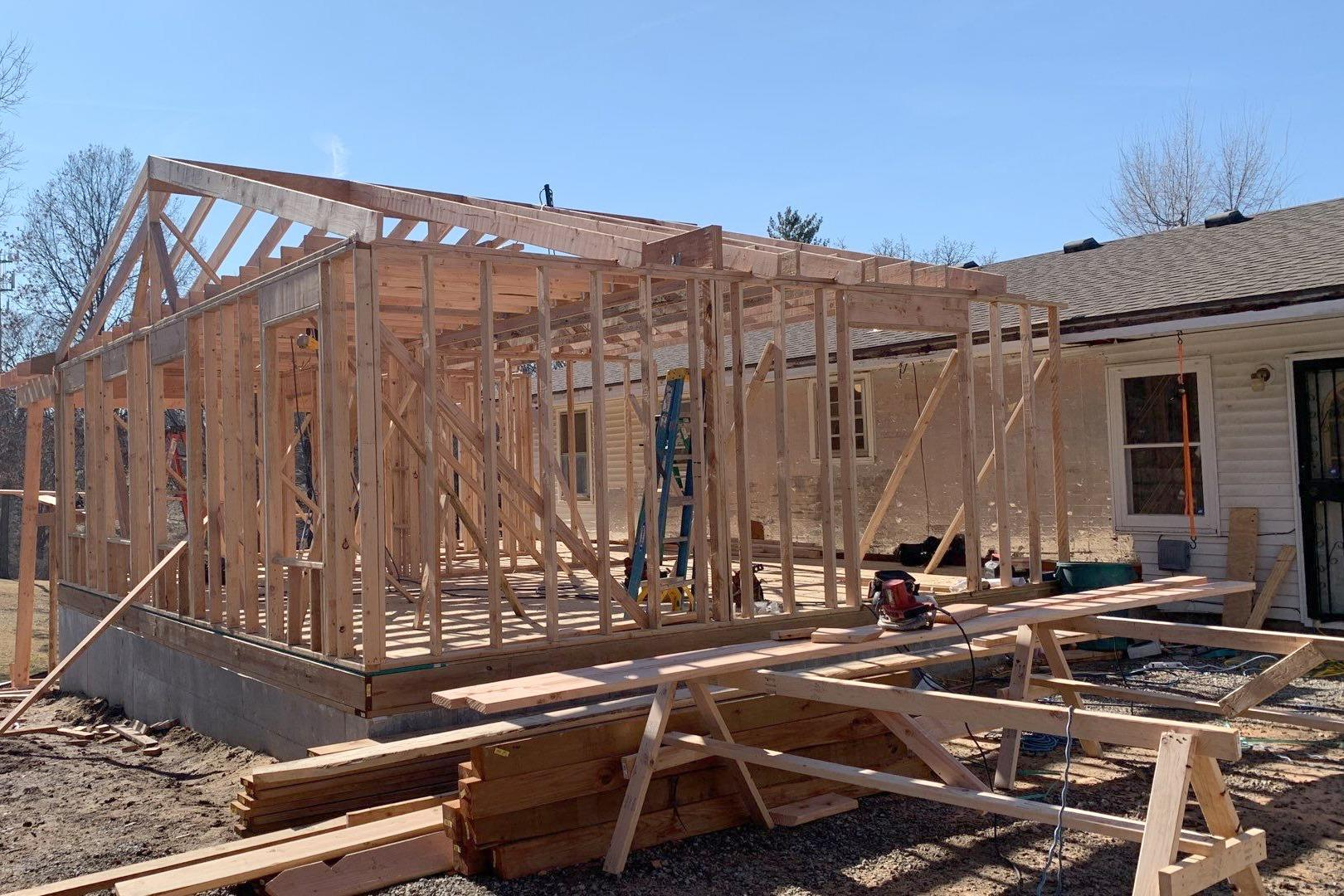Addition being Built Showing the Framework at a Home in Kansas City, KS - Before Photo
