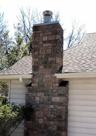 Refaced Chimney with Stone for Kansas City, MO Home