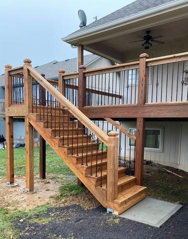 Stairs, Piers and Concrete Pad Added to a Deck in Grain Valley, MO