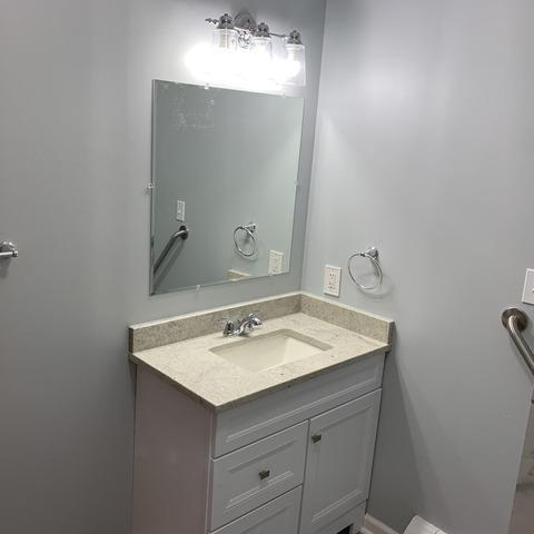 Bathroom Countertop, Cabinet and Mirror Installed in Ottawa, KS