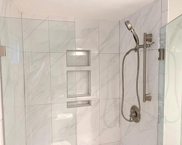 Bathroom Shower Surround Installed at a Home in Lenexa, KS