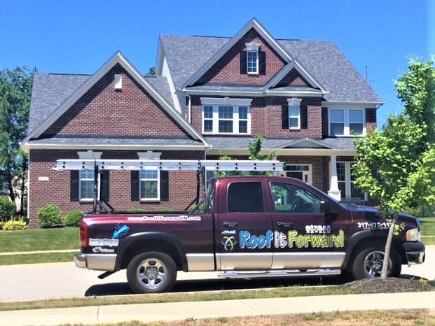 Before and after roof replacement in Zionsville Indiana.