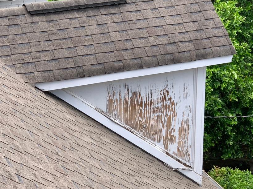 Siding replacement on two dormers in Atlanta, GA - Before Photo