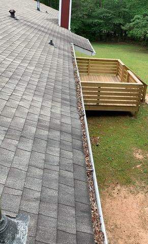 New gutters and LeaFree gutter protection in Lithia Springs, GA - Before Photo