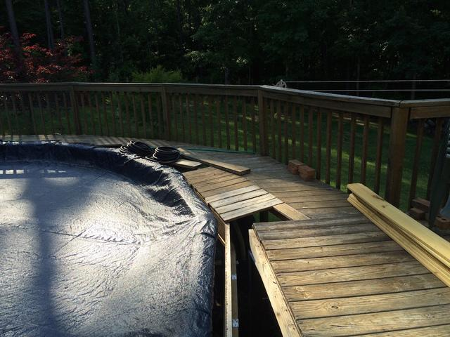 Wrap Around Pool Deck in Acworth, GA - Before Photo