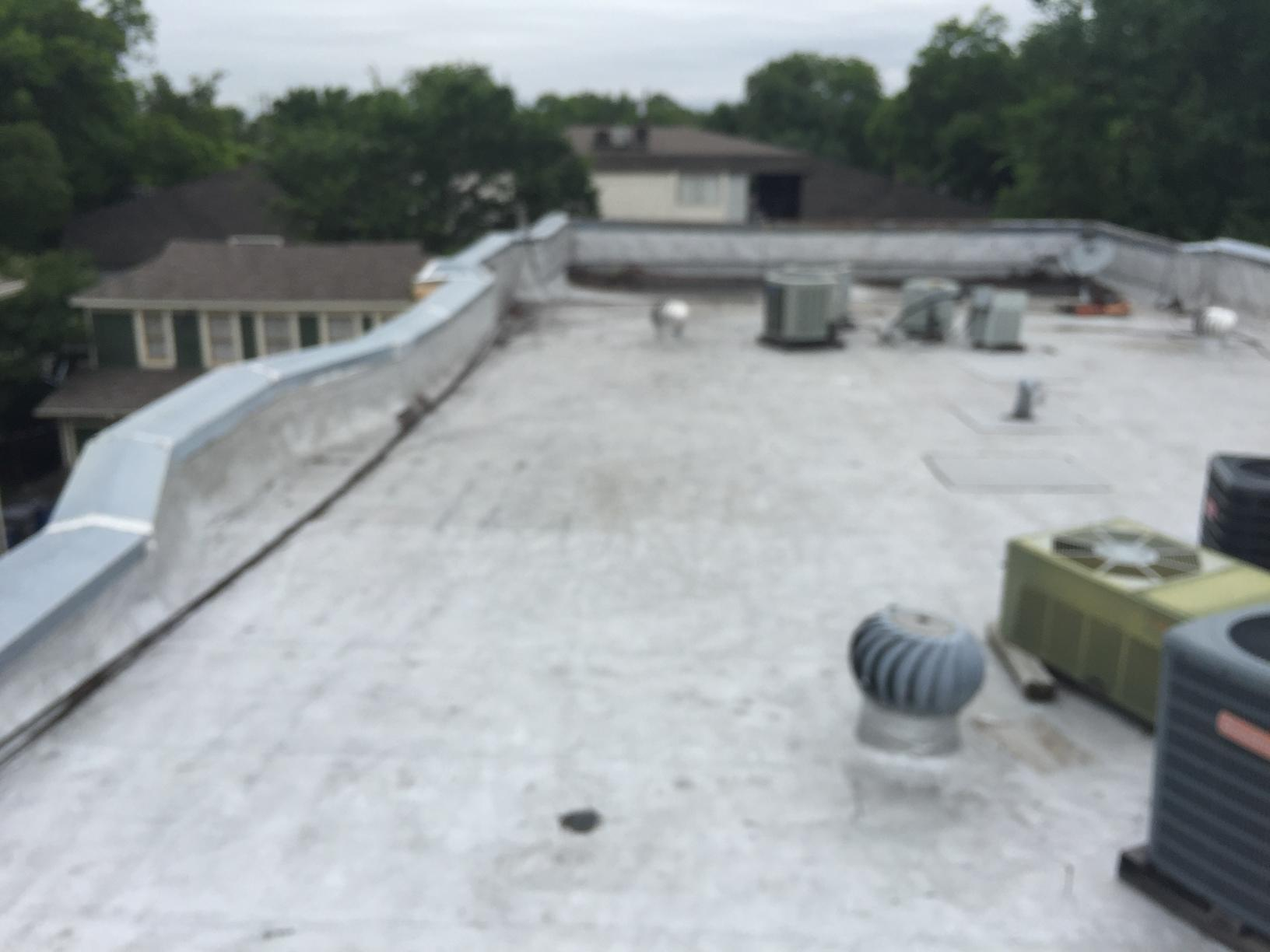 Commercial TPO Roofing Installation in Dallas - Before Photo