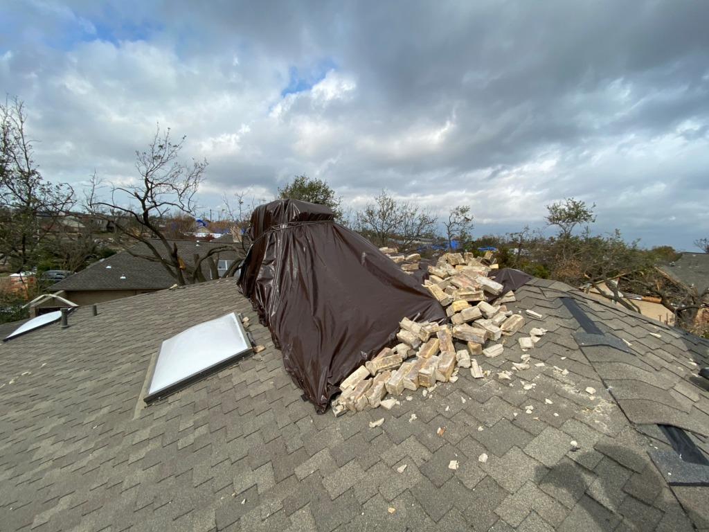 12 ft Chimney Rebuild Dallas, TX - Before Photo