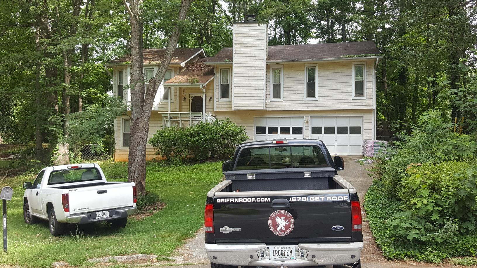 New roof and gutter replacement in Lawrenceville, GA - Before Photo