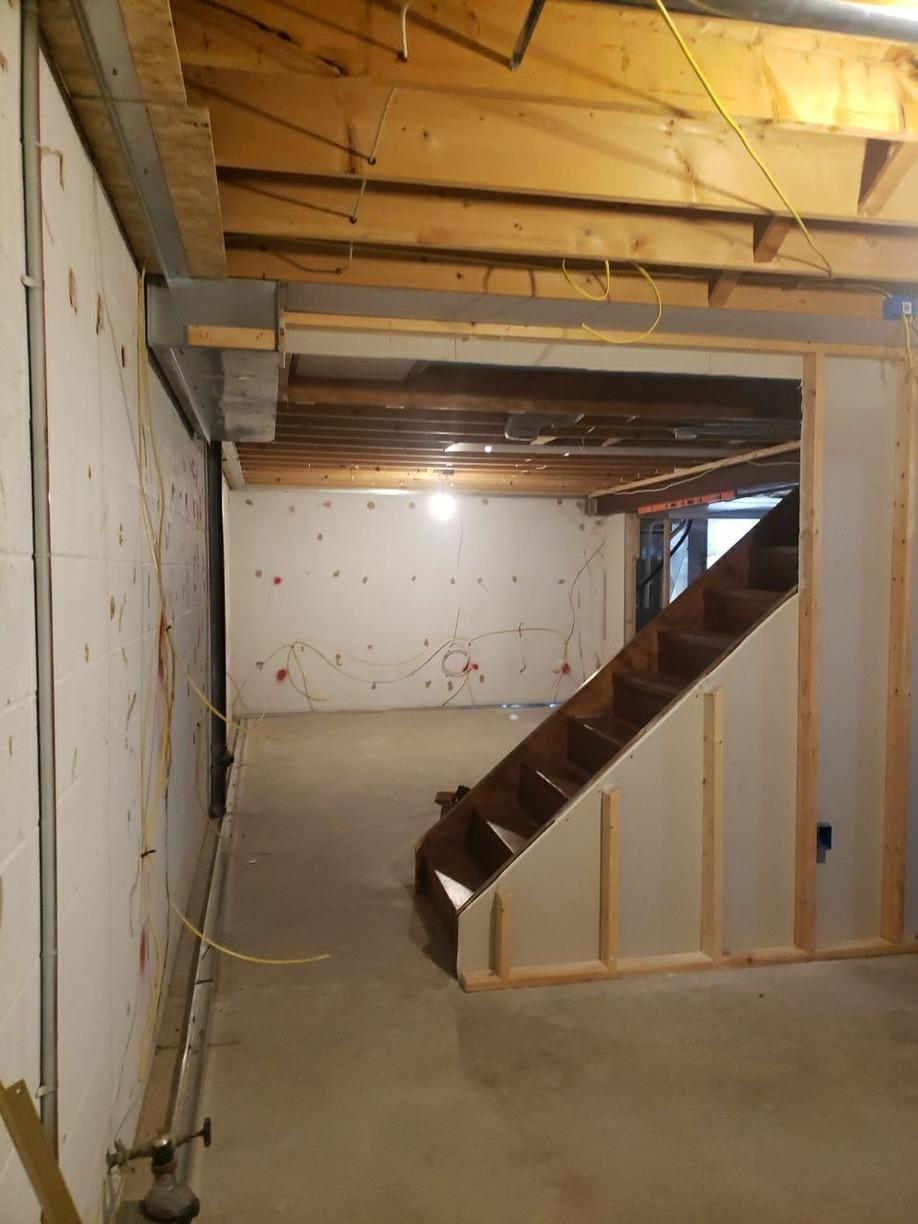 Dated Basement Becomes Modern Living Space in Murrysville Home! - Before Photo