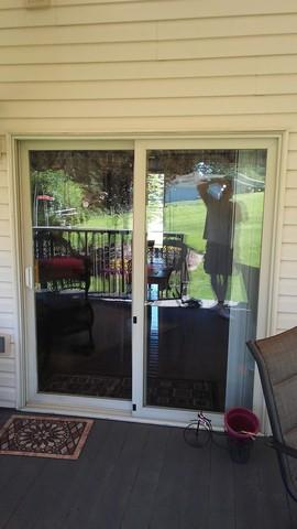 New Energy Effecient Sliding Glass Door Installed in Trafford, PA - Before Photo