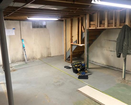 Finishing Half Of A Basement In Depew, NY - Before Photo