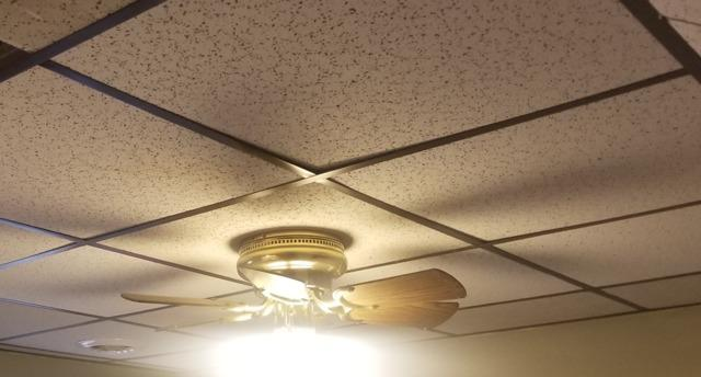 Refinishing A Ceiling in Ashville, NY - Before Photo