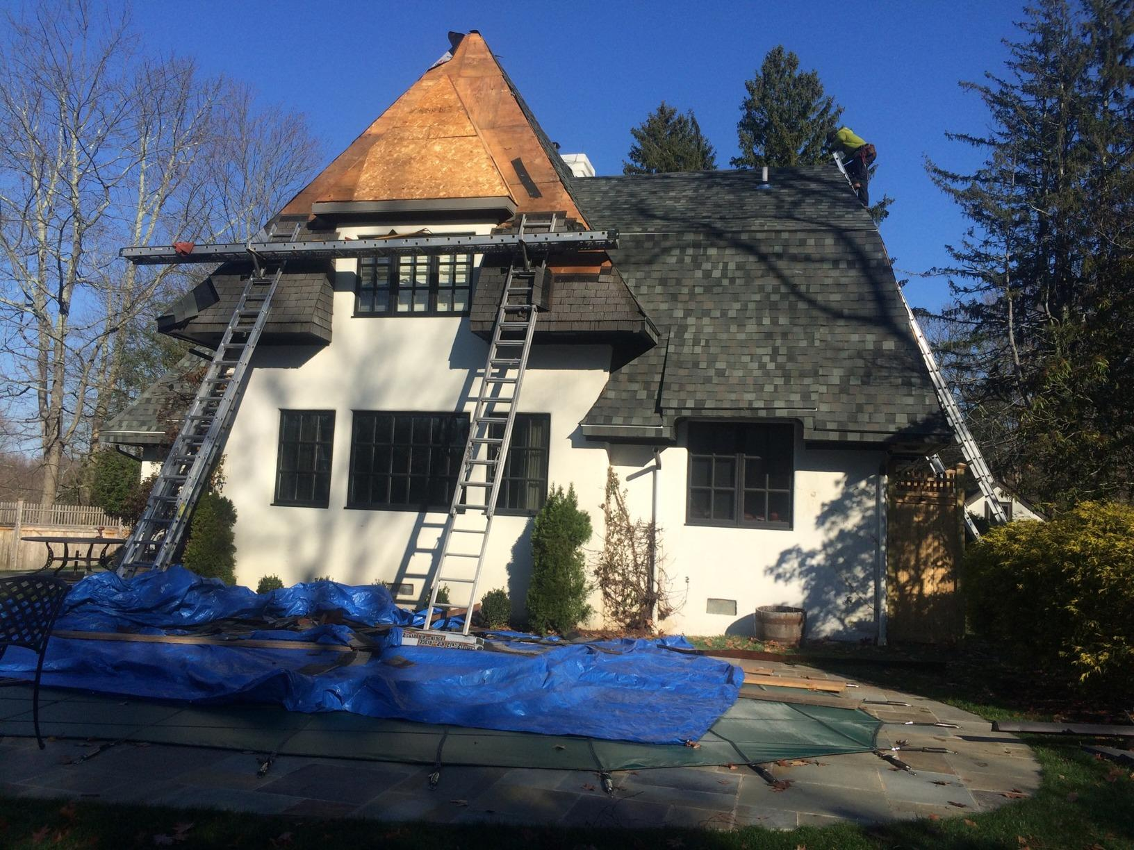 Greenwich, CT Wind Damage Roof Replacement and Restoration - Before Photo