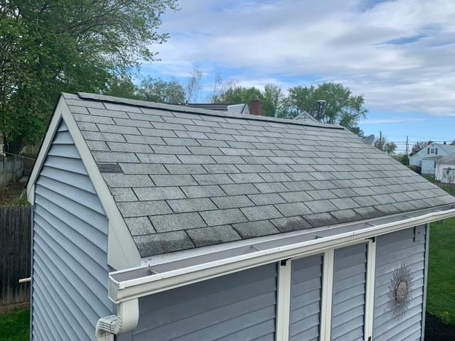 Storm Damaged Shed Roof Repair in Southington, CT - Before Photo