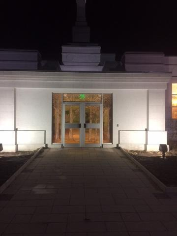 Entryway lighting installed for Palmyra, NY Temple