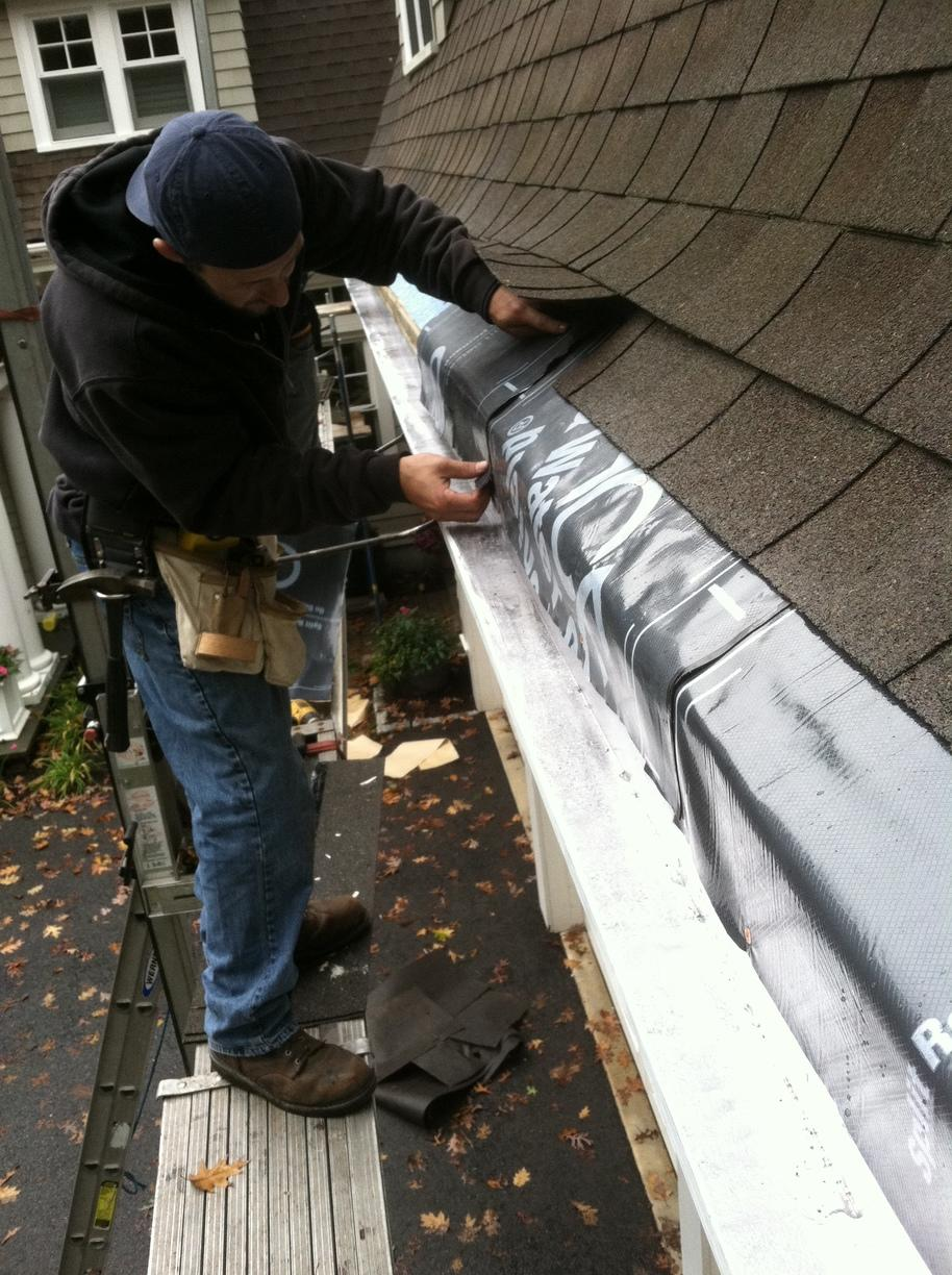 Lead Coated Copper Gutters in Weston, MA - Before Photo