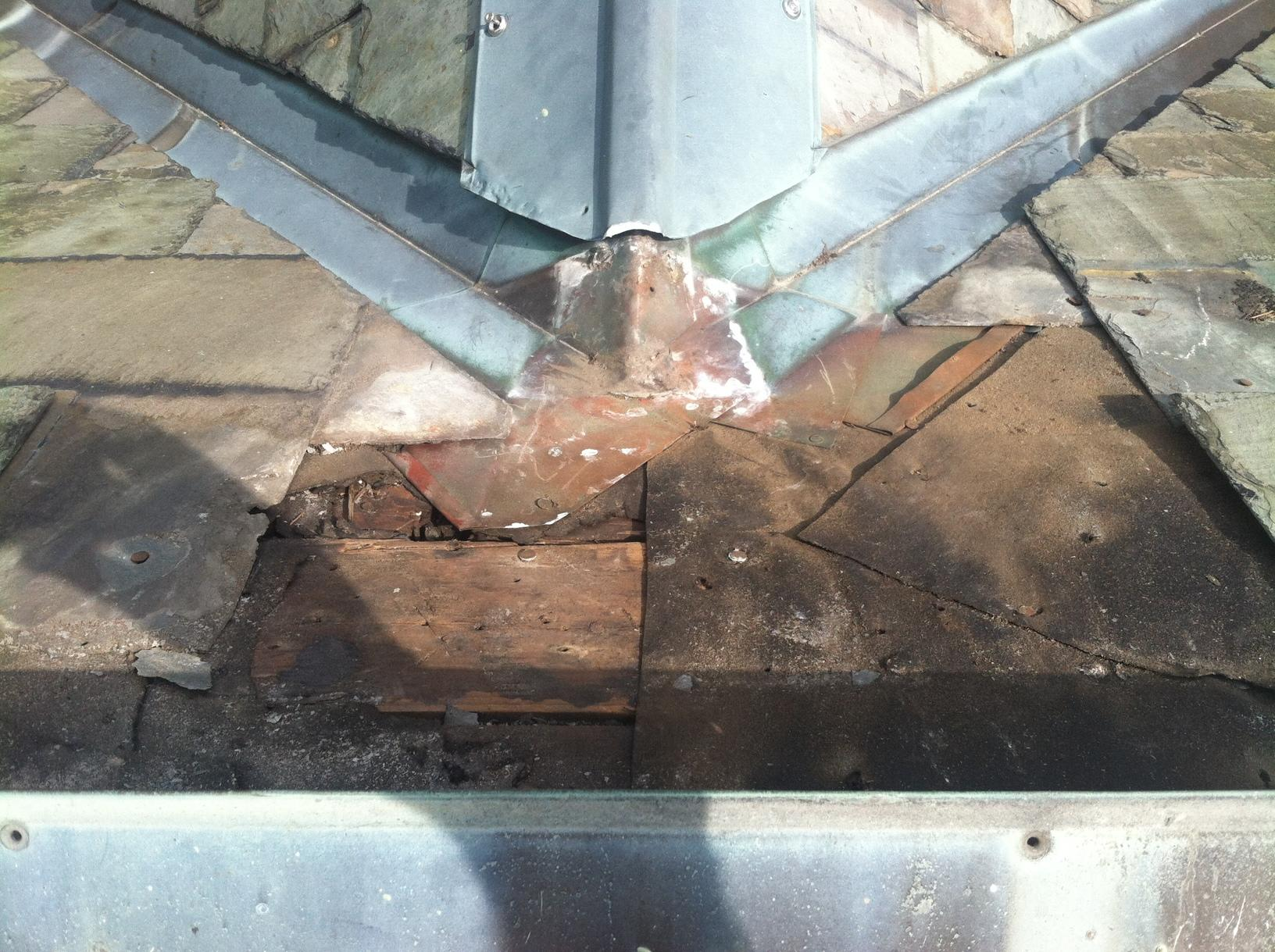 Slate Roof Leak Repair in Needham, MA - Before Photo