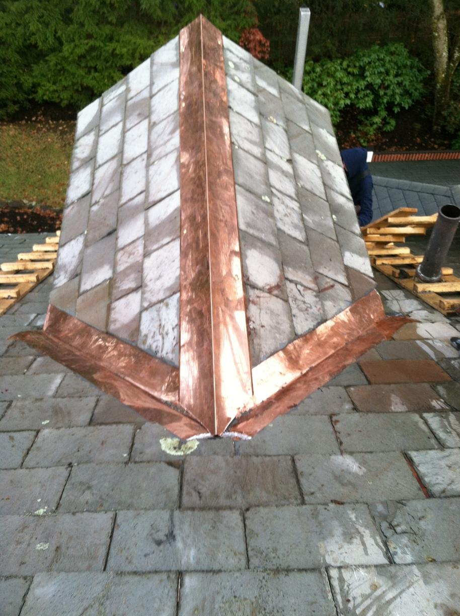 Slate Roof & Copper Install in Weston, MA - After Photo