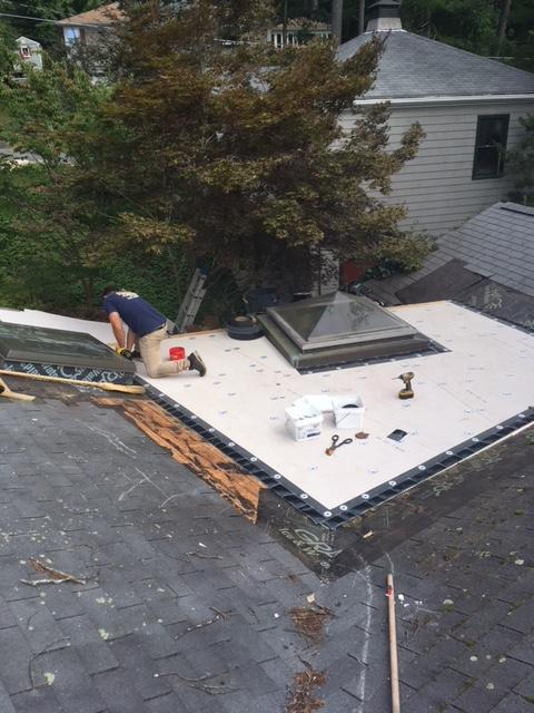 Rubber Roof Repair in Waban MA - Before Photo