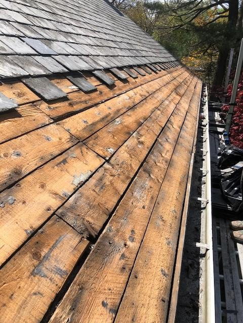 Copper Panel Installation on Slate Roof in Waban (Newton), MA - Before Photo