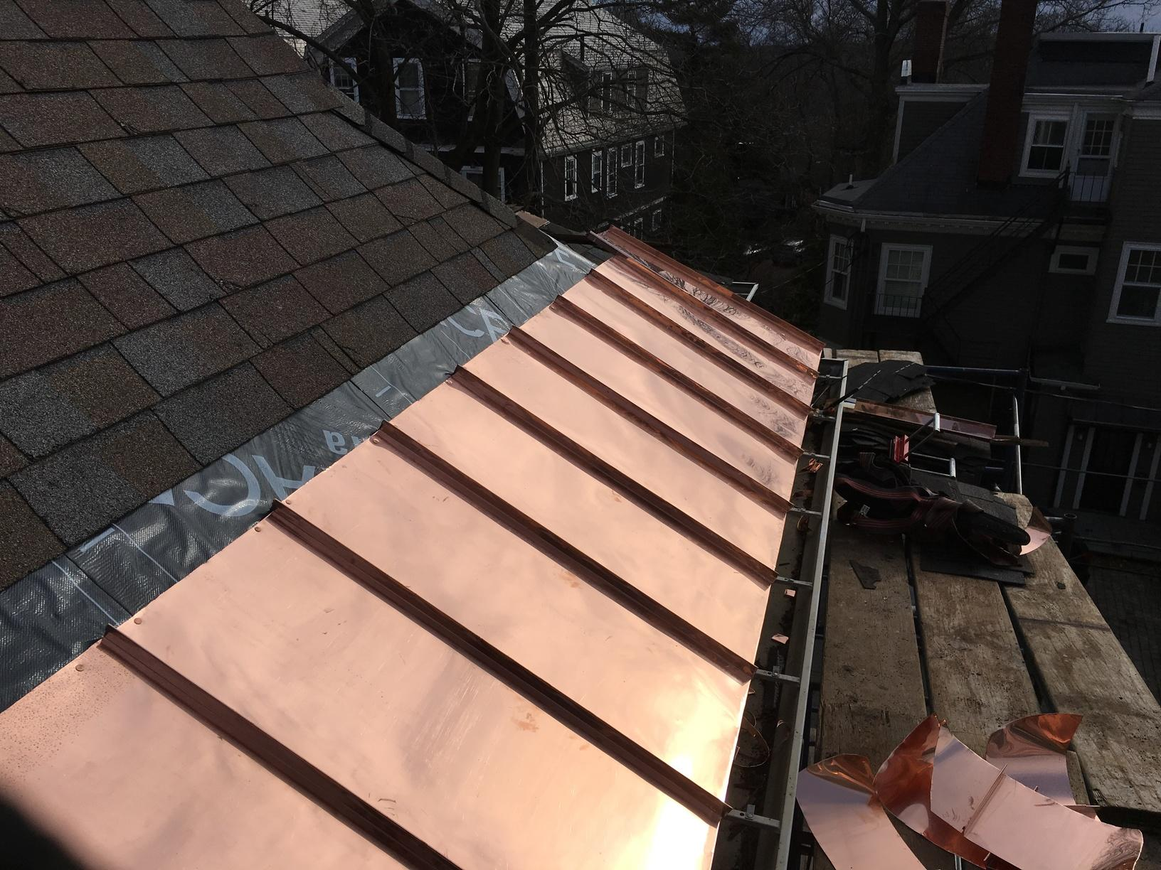 Copper Panel Installation on Asphalt Shingle Roof in Wayland, MA - After Photo