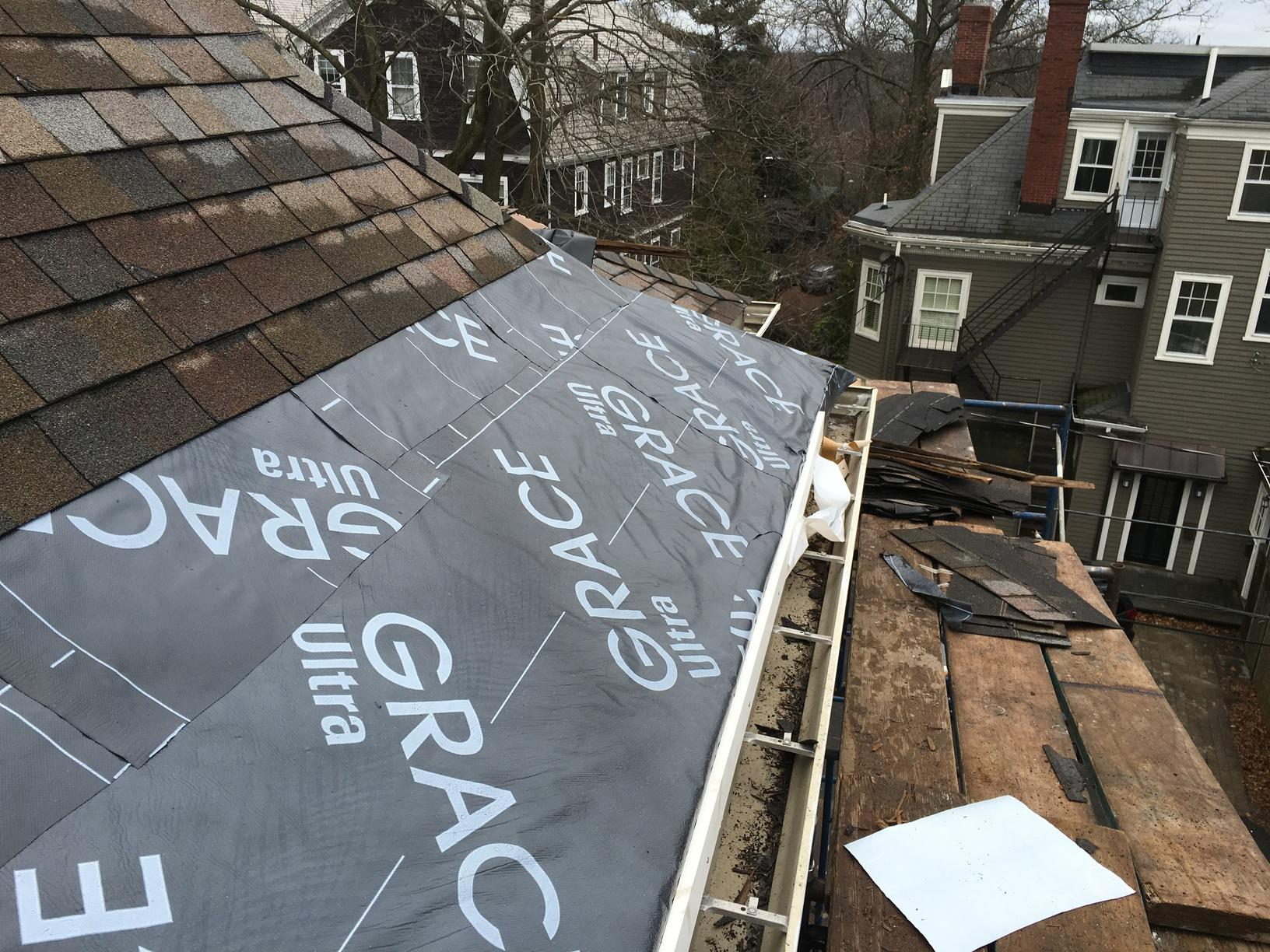 Copper Panel Installation on Asphalt Shingle Roof in Wayland, MA - Before Photo