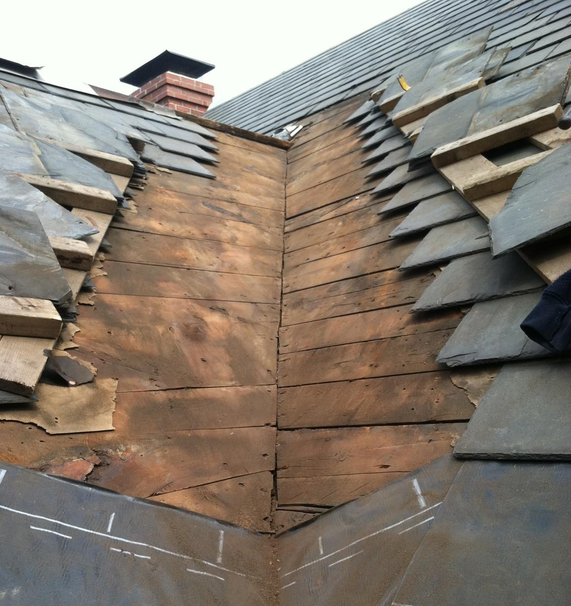 Copper Valley on Slate Roof Installation in Wellesley, MA - Before Photo