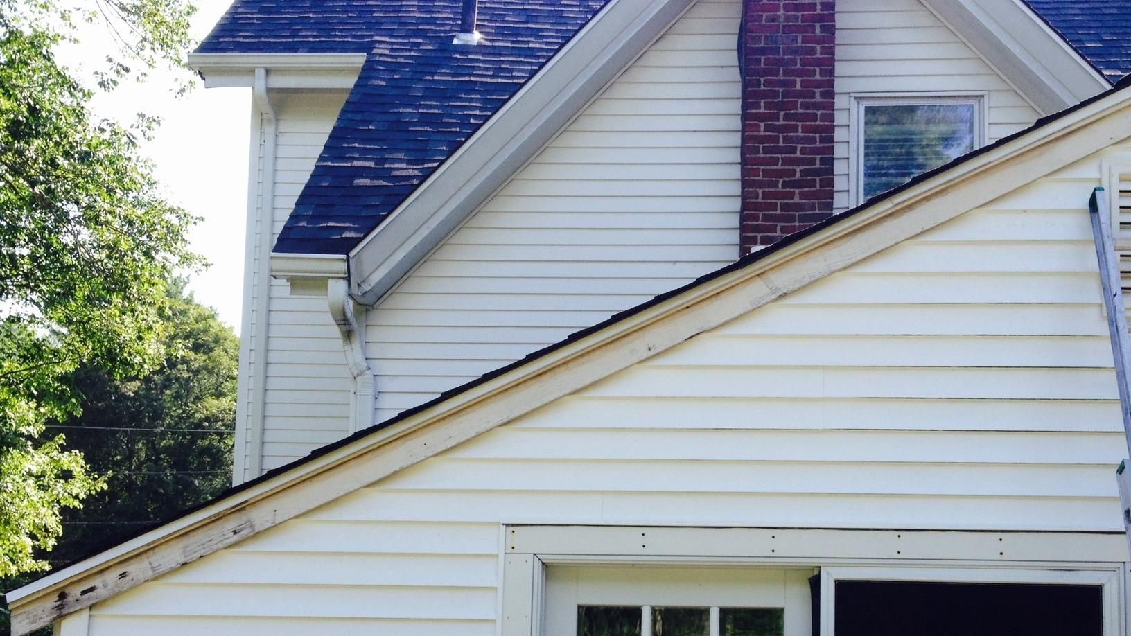 Roof Rake Board Replacement- Newton, MA - Before Photo