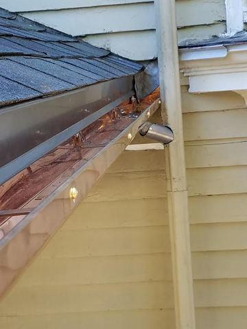 New Copper Gutters in Newton Center, MA